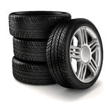 3d tires. On black  background Stock Images