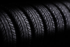 3d tires. On black  background Royalty Free Stock Photo