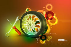 3d tires replacement concept Royalty Free Stock Image