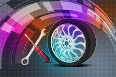 3d tires replacement concept. In color background Royalty Free Stock Images