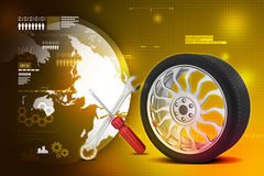 3d tires replacement concept. In color background Stock Photos
