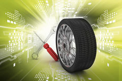 3d tires replacement concept Royalty Free Stock Photography