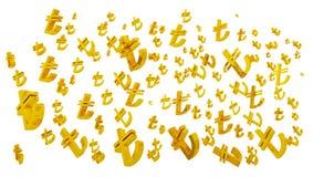 D tl złocistego symbolu tureccy liras odizolowywający, tureckiego lira symbol fotografia stock