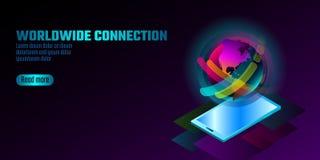 3D-toegelaten het concept van vertoningssmartphone Stereoscopische isometrische 3D bedrijfsinnovatietechnologie Kleurrijke trille stock illustratie