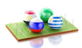 3d toernooien van de voetbalwereld Stock Afbeeldingen