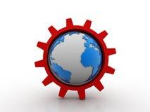 3D toestelmechanisme met aarde Stock Afbeelding