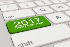 3d - toetsenbord - 2017 - gelukkig nieuw groen jaar - Stock Foto