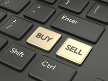 3d toetsenbord van de renderofcomputer met koopt en verkoopt knopen Royalty-vrije Stock Afbeeldingen