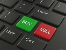 3d toetsenbord van de renderofcomputer met koopt en verkoopt knopen Stock Fotografie