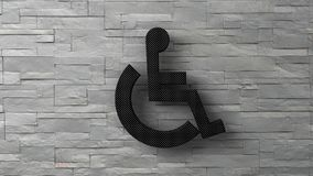 3d toilet disable sign on white brick wall. 3d toilet disable  sign on white brick wall. 3d render Royalty Free Stock Image