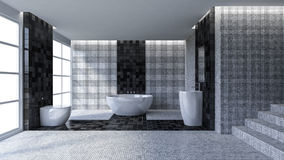 3d toilet interior design Royalty Free Stock Images