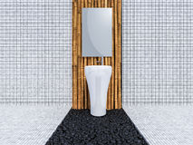 3d toilet interior design. 3d rendering image of toilet interior design. minimal concept, day time perspective, Bamboo wall and floor Royalty Free Stock Photo