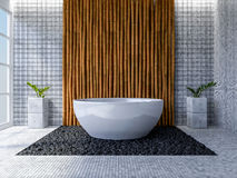 3d toilet interior design. 3d rendering image of toilet interior design. minimal concept, day time perspective, Bamboo wall and floor Royalty Free Stock Photography