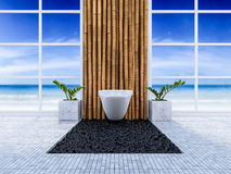 3d toilet interior design. 3d rendering image of toilet interior design. minimal concept, day time perspective, Bamboo wall and floor Royalty Free Stock Photos