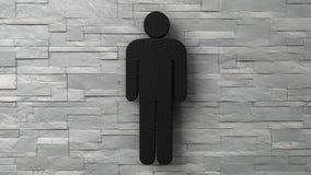 3d toilet man sign on white brick wall. 3d toilet man  sign on white brick wall. 3d render Stock Photography