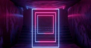 3d tolkning, abstrakt neonbakgrund, rosa blått glödande ljus, trappuppgång i mörkt rum royaltyfri illustrationer
