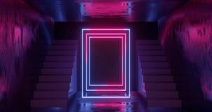 3d tolkning, abstrakt neonbakgrund, rosa blått glödande ljus, trappuppgång i mörkt rum vektor illustrationer