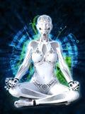 3D tolkning av den kvinnliga roboten som mediterar, teknologibegrepp royaltyfri foto
