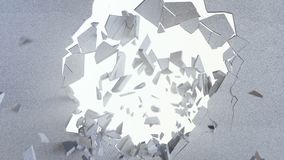 3d tolkning, explosion, bruten betongvägg, knäckt jord, kulhål, förstörelse, abstrakt bakgrund med volym stock video