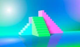 3d tolkning, grön blå rosa trappa, moment, abstrakt bakgrund i välvda pastellfärgade färger, modepodium, minimalist plats, arkivfoto