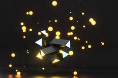 3d tolkning, gul gl?dande triangelpelare med m?rk bakgrund royaltyfri illustrationer