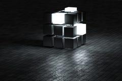 3d tolkning, idérika kuber med avkänning av vetenskap och teknik stock illustrationer