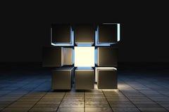 3d tolkning, id?rika kuber med avk?nning av vetenskap och teknik vektor illustrationer