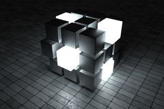 3d tolkning, id?rika kuber med avk?nning av vetenskap och teknik stock illustrationer