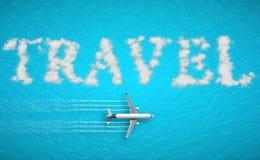 3D tolkning, loppbegrepp som är skriftligt på det tropiska karibiska havet med turismflygplanflugan nära den ferie, abstrakt lopp Royaltyfri Fotografi