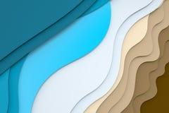 3d tolkning, multilayer bakgrund f?r papperssnittillustration vektor illustrationer