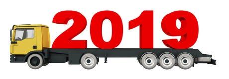 3D tolkning 2019 på lastbilen, lastbiltrans. för nytt år 2019 royaltyfri illustrationer