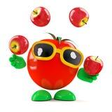 3d Tomaat jongleert met appelen Stock Afbeeldingen