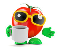 3d Tomato drinks coffee Stock Images