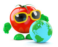 3d Tomato with a globe of the Earth Stock Images