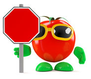 3d Tomato has a blank road sign Stock Photos
