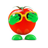 3d Tomato hides his face Royalty Free Stock Images