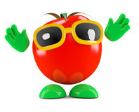 3d Tomato with his hands in the air Royalty Free Stock Image
