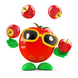 3d Tomato juggles apples. 3d render of a tomato juggling tomatoes Stock Images