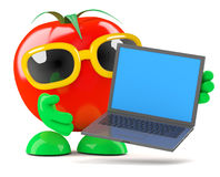 3d Tomato laptop Royalty Free Stock Image
