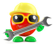 3d Tomato is a mechanic with spanner. 3d render of a tomato wearing a safety helmey and holding a spanner Royalty Free Stock Photography