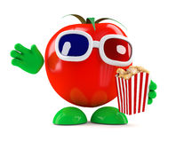 3d Tomato at the movies with popcorn Royalty Free Stock Photography
