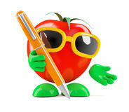 3d Tomato with a pen Royalty Free Stock Image