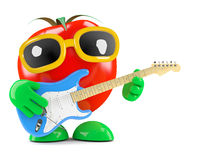 3d Tomato plays electric guitar Royalty Free Stock Photography