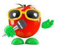 3d Tomato sings into the microphone Stock Image