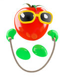 3d Tomato skipping. 3d render of a tomato skipping with a rope Royalty Free Stock Photos