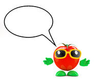3d Tomato with a speech bubble Royalty Free Stock Photography