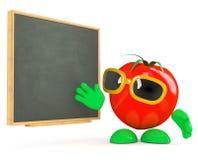 3d Tomato teaches at the blackboard Royalty Free Stock Photo