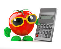 3d Tomato uses a calculator Stock Photo
