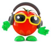 3d Tomato wears headphones Stock Photos