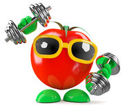 3d Tomato works out Stock Photos